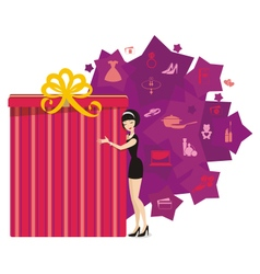 Big present for woman purple vector image