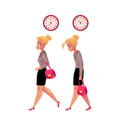 Businesswoman hurrying to work and going back home vector