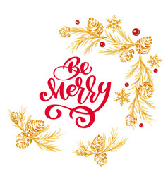Christmas text be merry red hand written vector