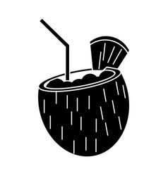Cocktail coconut fresh drink pictogram vector