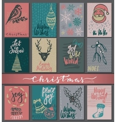 Collection of nine christmas cards with hand drawn vector