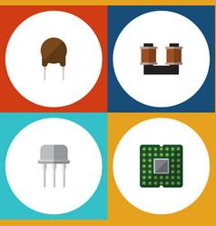 Flat icon device set of triode unit coil copper vector