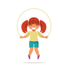 girl jumping rope vector image