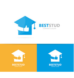 graduate hat and like logo combination vector image