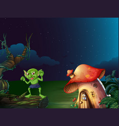 Green monster by mushroom house at night vector