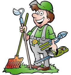 Hand-drawn of an happy gardener standing with his vector