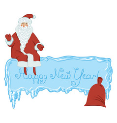 Icy frame with lettering santa claus and gift bag vector