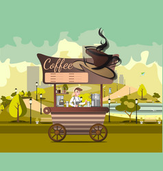 kiosk tent or coffee shop with coffee maker in vector image