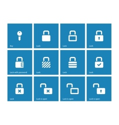 Locks icons on blue background vector image vector image