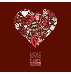 love icons in heart vector image