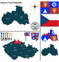 map of liberec czech republic vector image
