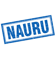 Nauru blue square grunge stamp on white vector