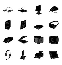 Personal computer accessories set icons in black vector