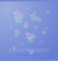 Rainbow soap bubbles in realistic style vector