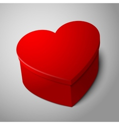 Realistic blank big bright red heart shape box vector