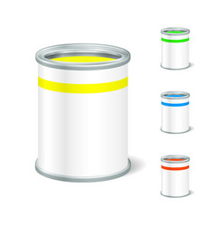 Realistic blank open paint bucket tin for liquid vector
