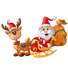 santa riding sledge cartoon vector image