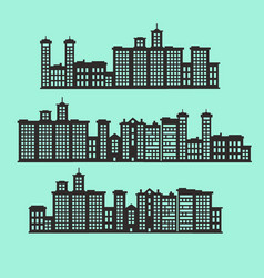 set of silhouette buildings vector image vector image
