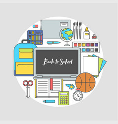 set school supplies flat in circle vector image