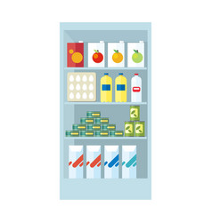 Shelves with food products vector