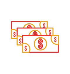 stack banknote cash money currency dollar vector image