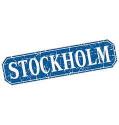 Stockholm blue square grunge retro style sign vector
