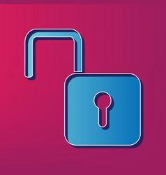 Unlock sign blue 3d printed vector