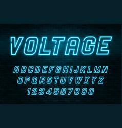 Voltage neon light alphabet realistic extra vector