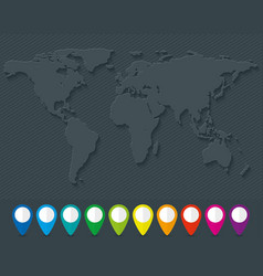 World map and set of colorful map pointers vector