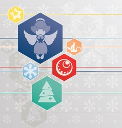 Christmas background with angel and christmas symb vector