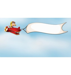 monkey flying in aircraft with flag vector image