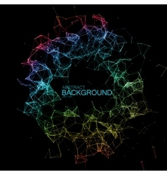 Iridescent plexus lines and particles background vector
