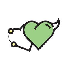 Love heart devil pen tool style green vector