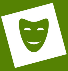 Comedy theatrical masks white icon vector