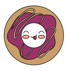 Delicious donut kawaii character vector