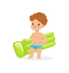 Cute boy with inflatable mattress kids summer vector