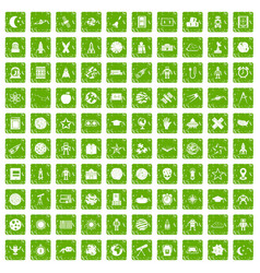 100 astronomy icons set grunge green vector