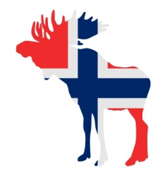 Moose in flag of norway vector