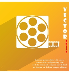 Video icon symbol flat modern web design with long vector