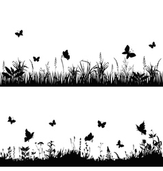 Silhouette meadows vector