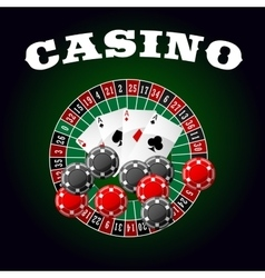 Casino icon with four aces chips and roulette vector image