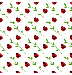Pattern with bright little ladybugs and branches vector