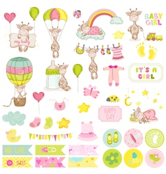 Baby boy giraffe scrapbook set baby tags vector