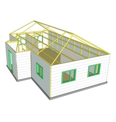 Building under construction technical vector