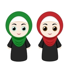 Cartoon girls with hijab vector
