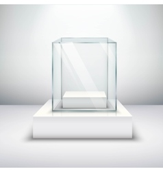 Empty glass showcase vector