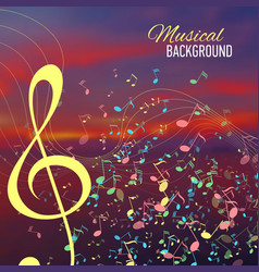 Blurred sunset background with music key and notes vector