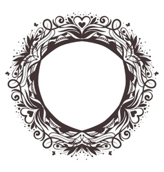 Black round floral frame ornament vector
