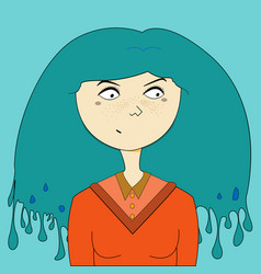 Blue hair girl portrait vector