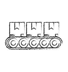 blurred silhouette cartoon packages in conveyor vector image vector image